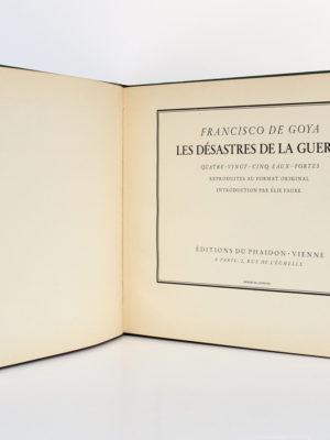 Les Désastres de la guerre, Francisco de GOYA. Éditions du Phaïdon, 1937. Page titre.
