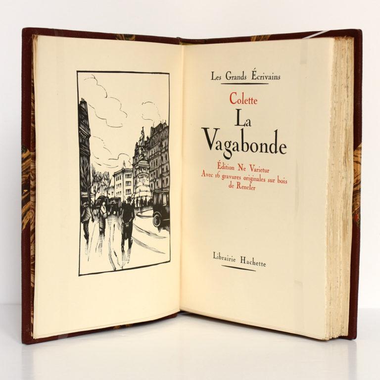 La Vagabonde, COLETTE. Gravures de RENEFER. Hachette, 1928. Frontispice et page titre.