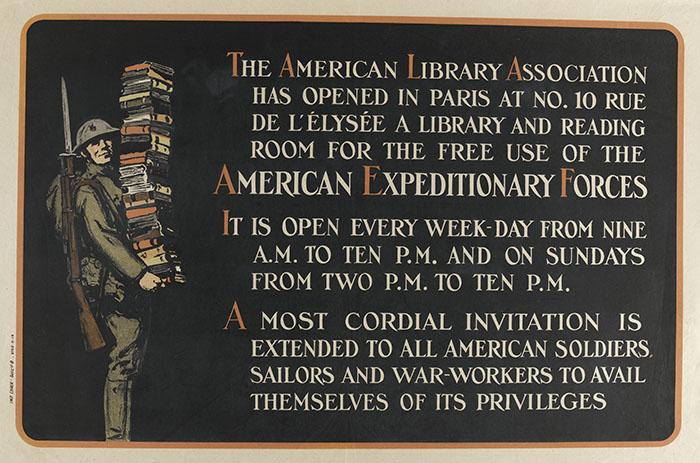 MUSEE DE BLERANCOURT - Affiche. Ouverture de la bibliothèque de l'association des Américains à Paris.  RMN-Grand Palais (Château de Blérancourt)/Gérard Blot