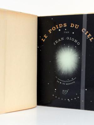 Le Poids du ciel, Jean GIONO. nrf-Gallimard, 1938. Couverture intérieure.