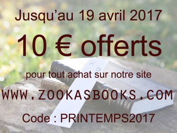 Promotion Printemps 2017 Librairie Zooka's Books, livres anciens et d'occasion