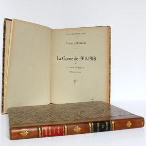 La Guerre de 1914-1918. Cours d'histoire. Colonel DUFFOUR. École supérieure de guerre, 1923. 2 volumes. Page titre du volume de textes.