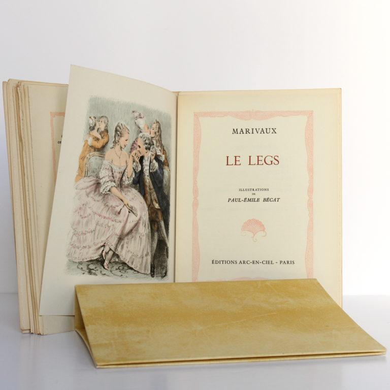 Les fausses confidences, Marivaux. Illustrations de Paul-Émile BÉCAT. Éditions Arc-en-Ciel, 1953. Frontispice et page titre 2.