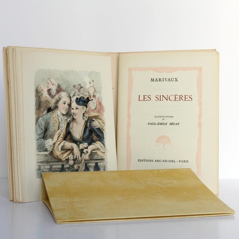 Les fausses confidences, Marivaux. Illustrations de Paul-Émile BÉCAT. Éditions Arc-en-Ciel, 1953. Frontispice et page titre 3.