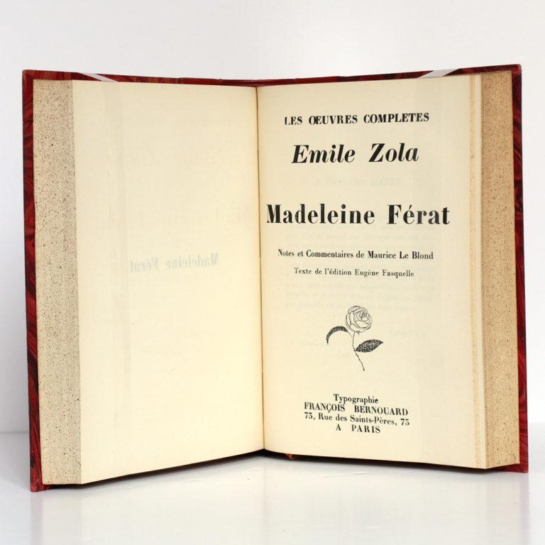 Thérèse Raquin - Madeleine Férat, Émile Zola. François Bernouard, 1928. Page titre 2.