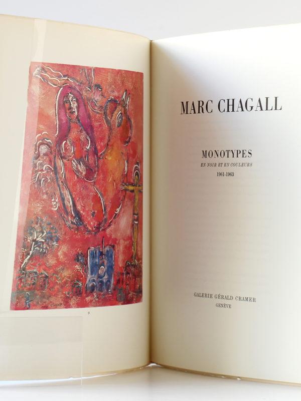 Marc Chagall Monotypes en noir et en couleurs Paravent 1961-1963, Catalogue Galerie Cramer 1964-1965. Frontispice et première page titre.