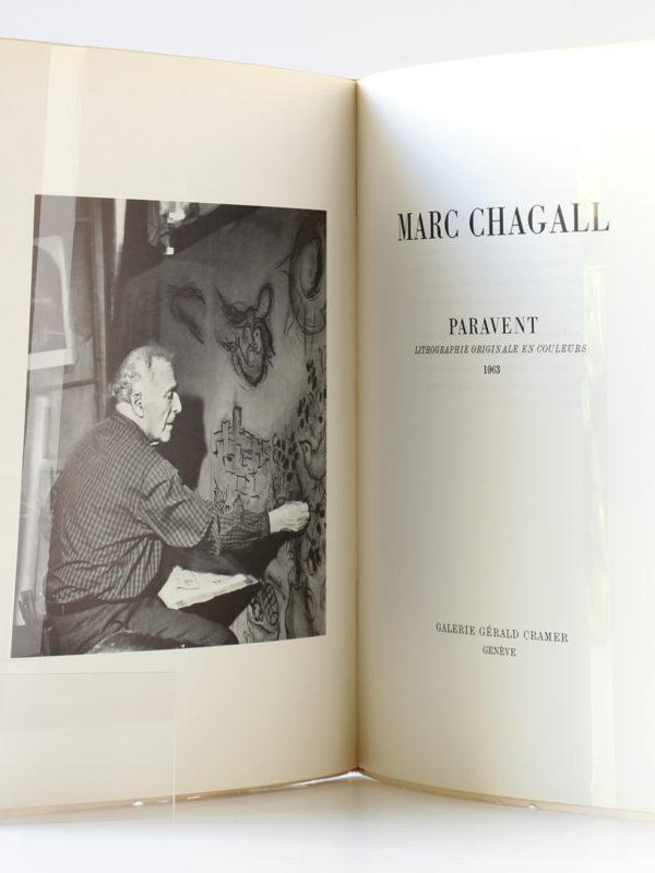 Marc Chagall Monotypes en noir et en couleurs Paravent 1961-1963, Catalogue Galerie Cramer 1964-1965. Frontispice et deuxième page titre.