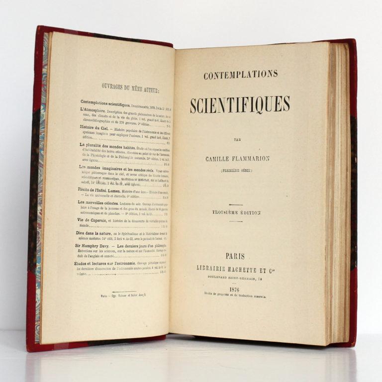 Contemplations scientifiques (Première série), Camille Flammarion. Librairie Hachette & Cie, 1876. Page titre.