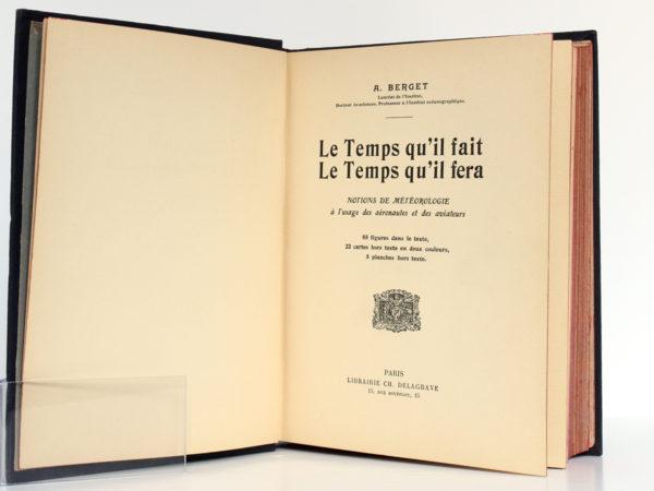 Le Temps qu'il fait Le temps qu'il fera, A. BERGET. Delagrave, sans date [1912]. Page titre.