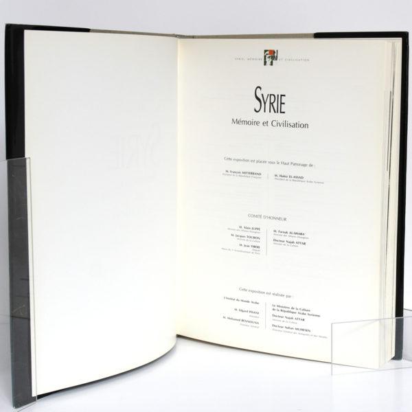 Syrie Mémoire et Civilisation. Catalogue exposition, 1993. Page titre.