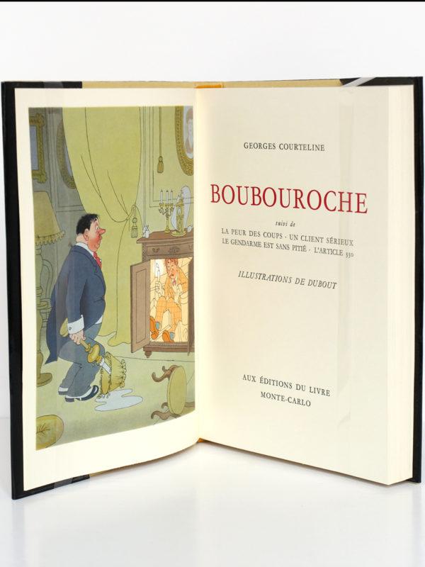 Boubouroche, Georges Courteline. Aux Éditions du Livre, 1958. Illustrations de Dubout. Frontispice et page titre.