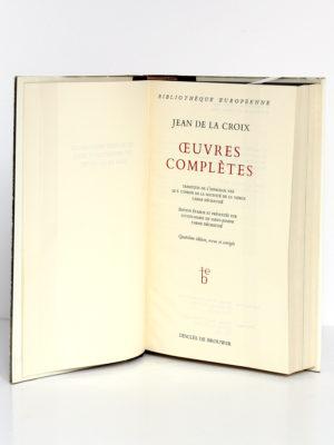 Œuvres complètes, Jean de la Croix. Desclée de Brouwer, 1967. Page titre.