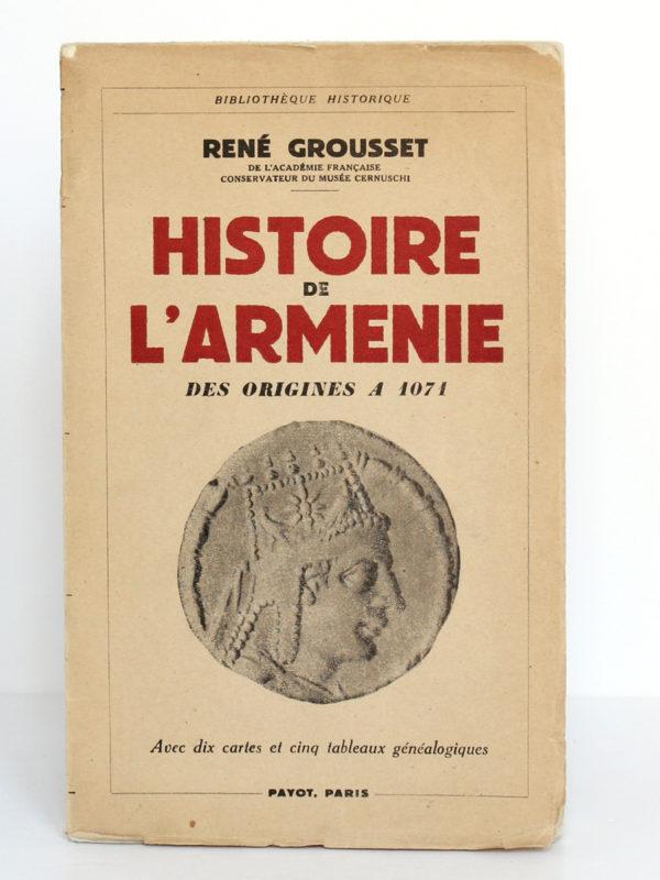Histoire de l'Arménie, René Grousset. Payot, 1947. Couverture.