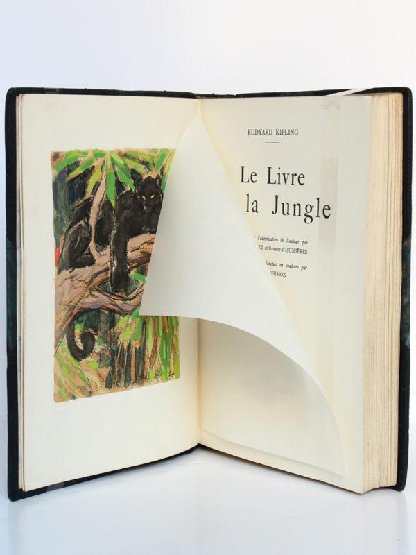 Le Livre de la jungle, Rudyard KIPLING. Illustrations H.DELUERMOZ. Librairie Delagrave, 1936. Frontispice et page titre.