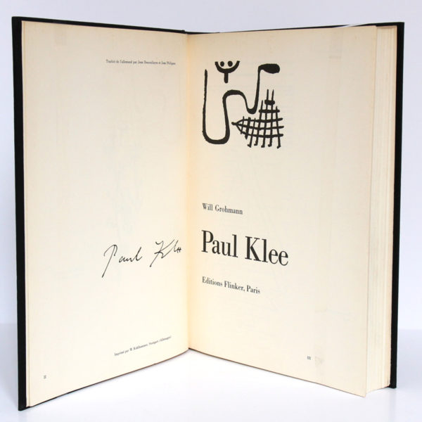 Paul Klee, Will GROHMANN. Éditions Flinker, 1954. Page titre.