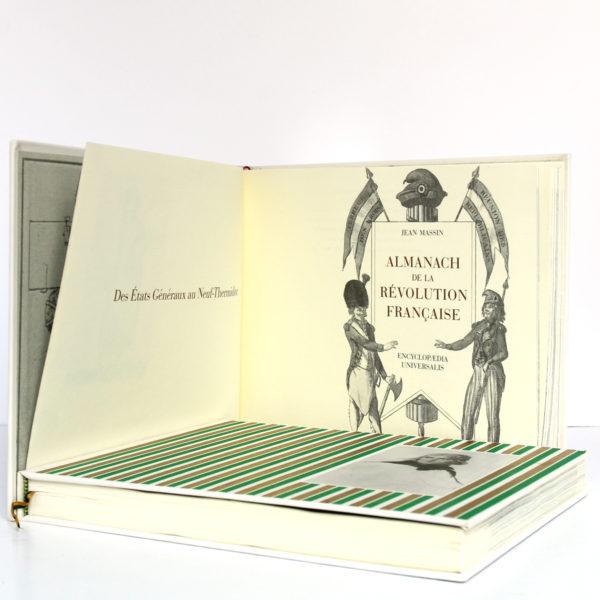 Almanach de la Révolution française et du Premier Empire, Jean Massin. Encyclopaedia Universalis, 1988. 2 volumes sous étui. Volume 1 : page titre.