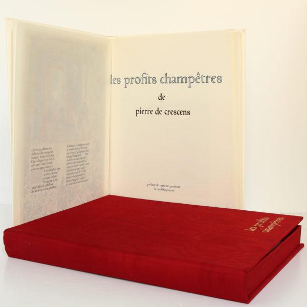 Les profits champêtres, Pierre de Crescens. Éditions Chavane, 1965. Frontispice avec sa serpente et page-titre.