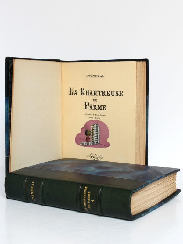 La Chartreuse de Parme, Stendhal. Aquarelles de Paul Domenc. La Belle Édition, sans date [1947]. Page titre du volume 2 et volume 1.