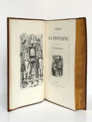 Fables de La Fontaine, illustrations par Grandville. Garnier-Frères, 1864. Frontispice et page-titre.