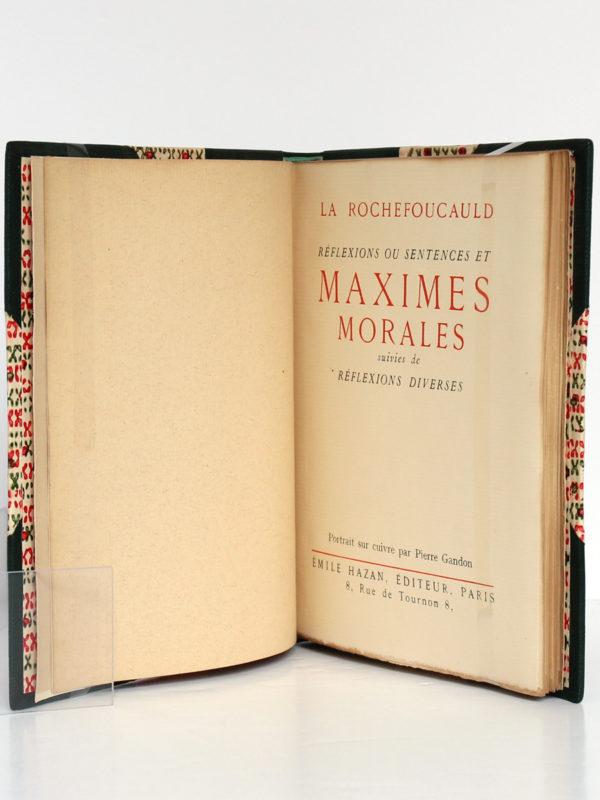 Maximes morales, La Rochefoucauld. Émile Hazan, 1930. Page titre.
