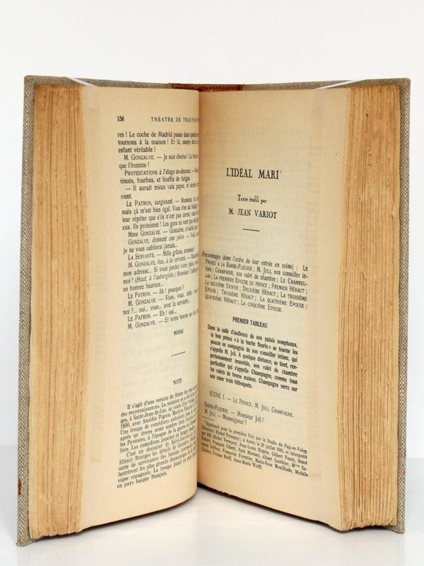 Théâtre de tradition populaire, publié par Jean VARIOT. Robert Laffont, 1942. Pages intérieures.