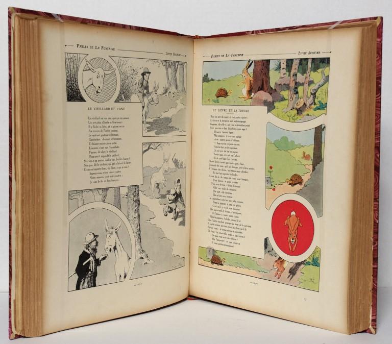Fables de La Fontaine illustrées par Benjamin Rabier. Pages intérieures. Livre ancien.