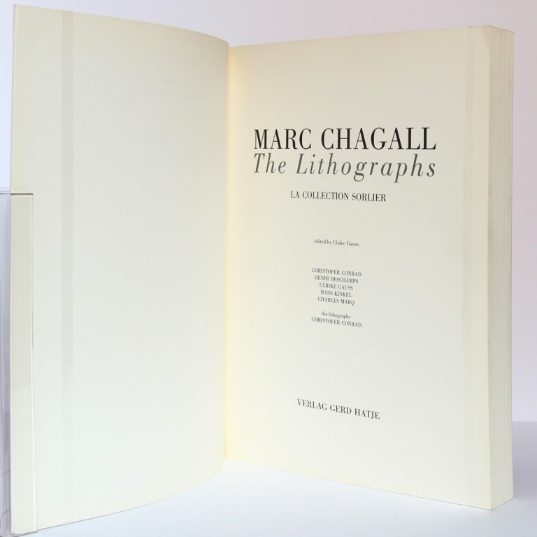 Marc Chagall. The lithographs. La collection Sorlier. 1998. Page titre.