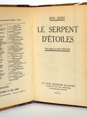 Giono. Le Serpent d'étoiles. Ferenczi. 1937. Page titre.