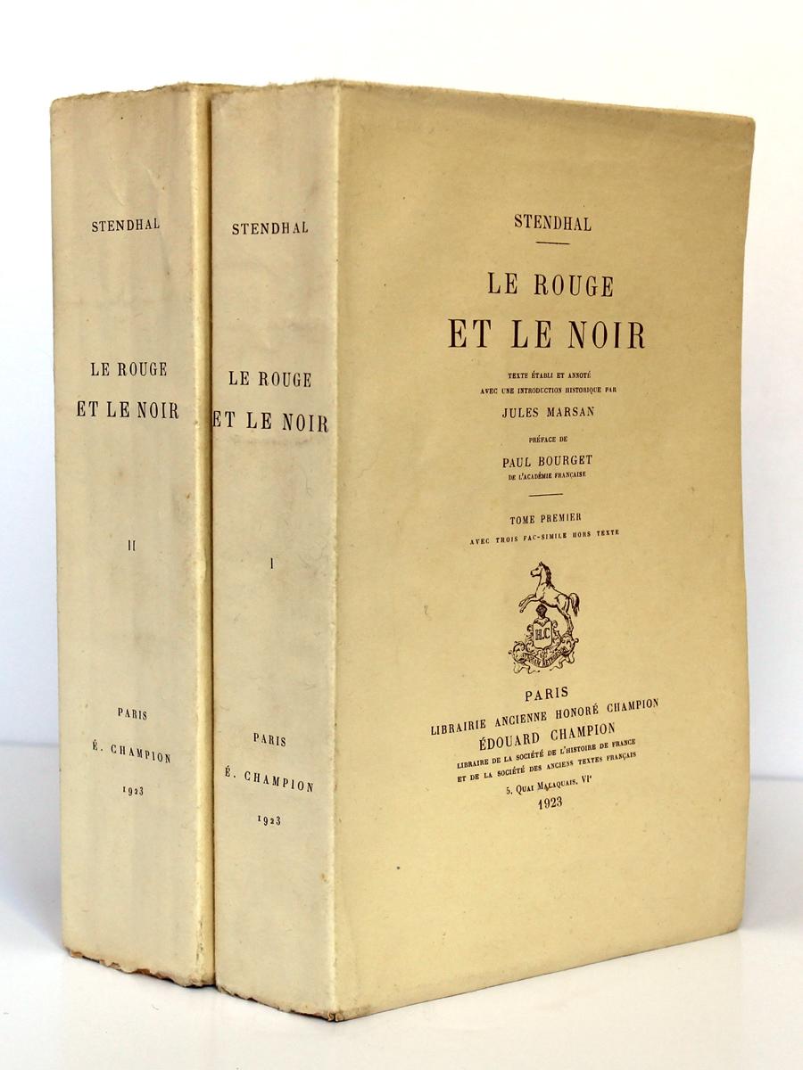 Le Rouge et le noir. Stendhal. Librairie ancienne Honoré Champion 1923. Couvertures et dos.