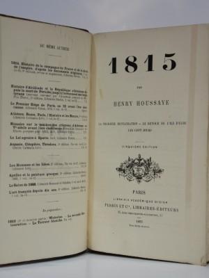 1815 La première Restauration Le retour de l'Île d'Elbe Les Cent Jours. Perrin 1893. Page titre.
