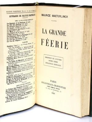 La Grande Féerie. Maurice Maeterlinck. Fasquelle 1929. Pages titres.