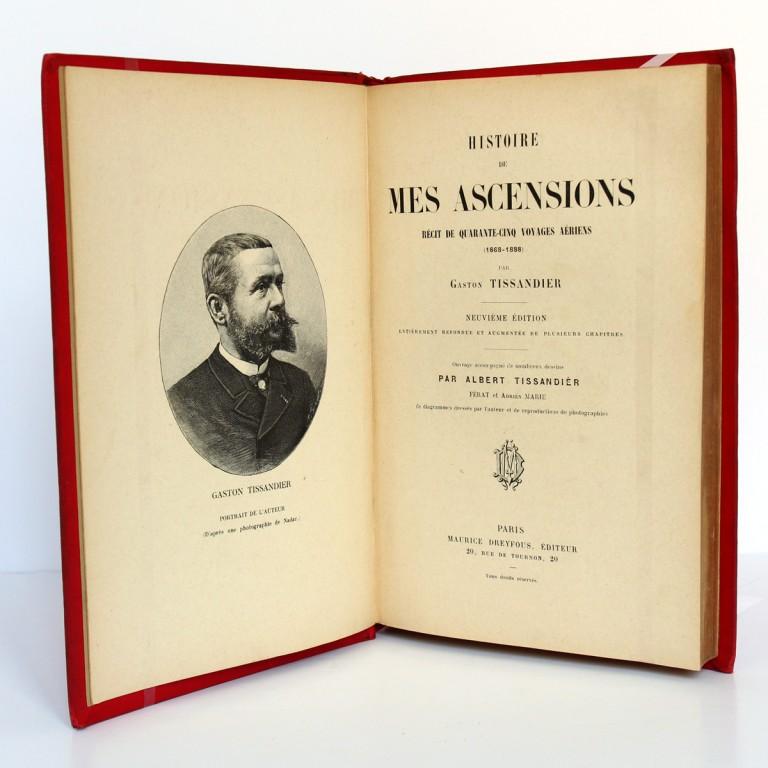 Histoire de mes ascensions. Gaston Tissandier. Maurice Dreyfous 1888. Page titre.
