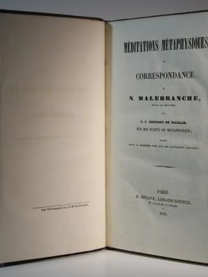 Méditations métaphysiques. Nicolas Malebranche. H. Delloye. 1841. Page titre.