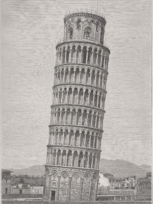 Pise. La Tour penchée. Gravure du 19e siècle.