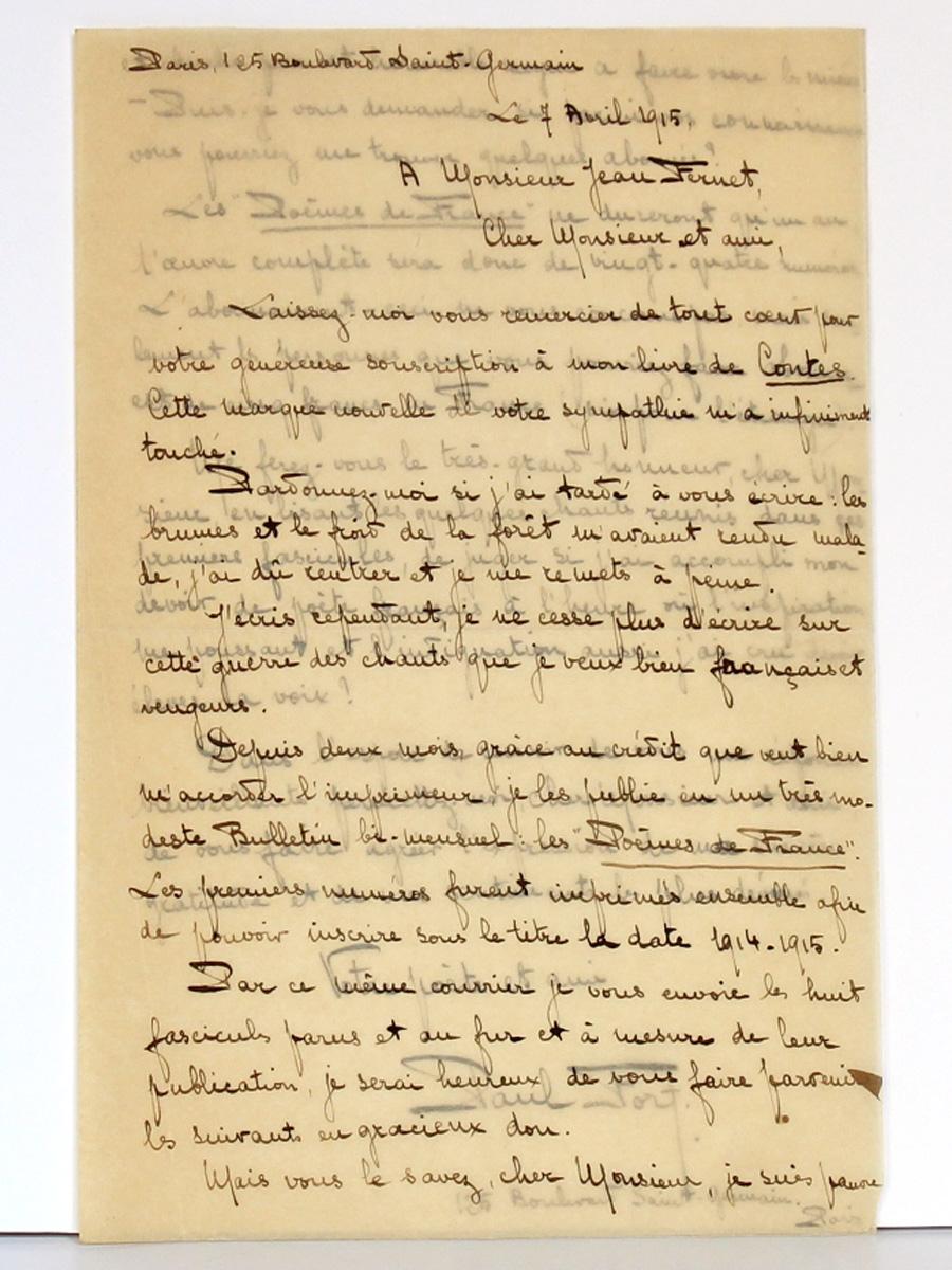 Lettre de Paul Fort à Jean Fernet, datée du 7 avril 1915. Première page.