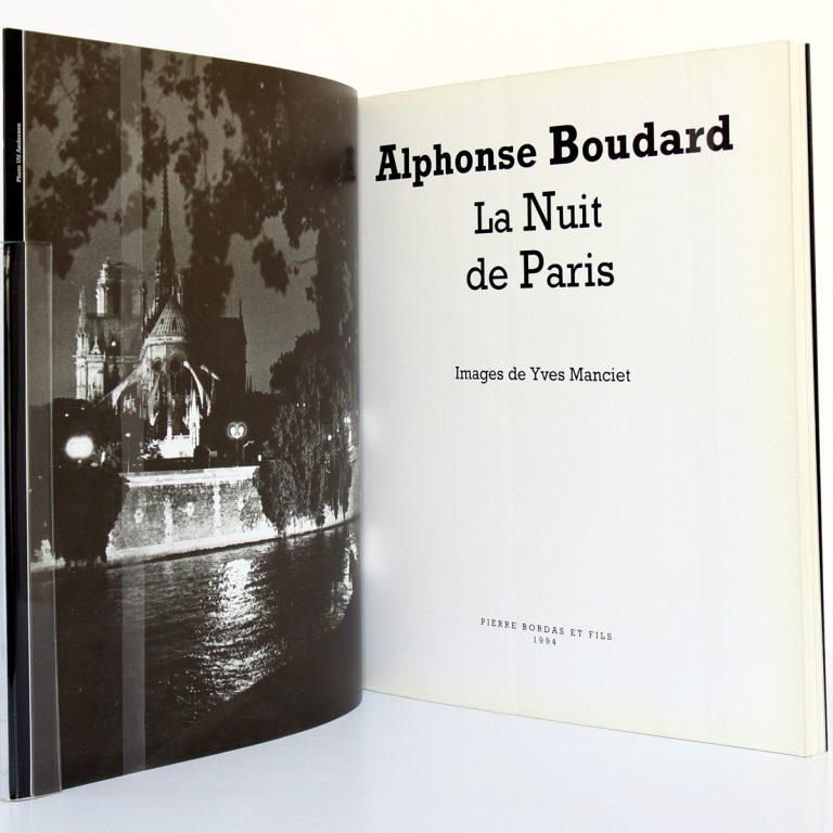La Nuit de Paris, Alphonse Boudard. Photographies Yves Manciet. Éditions Pierre Bordas & Fils, 1994. Frontispice et page titre.