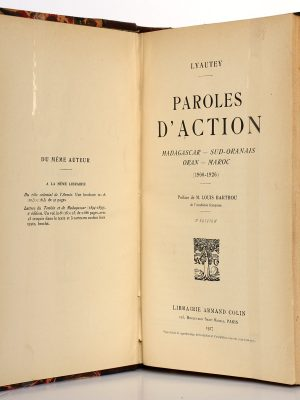 Paroles d'action. Lyautey. Armand Colin 1927. Page titre.