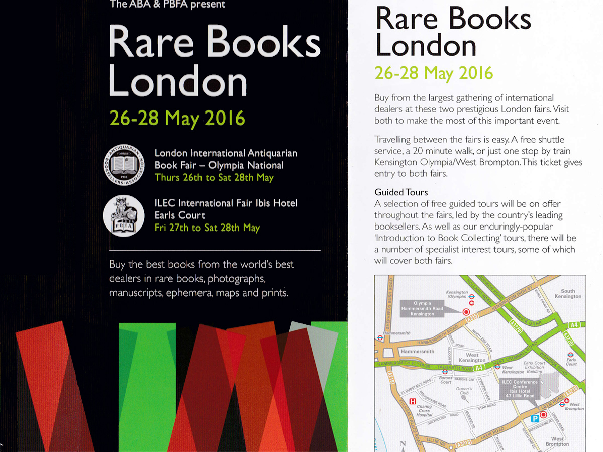 Rare Books London 2016. 26-28 mai 2016.