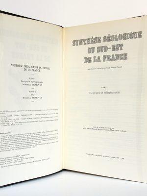Synthèse géologique du sud-est de la France. Volume 1 Stratigraphie et paléogéographie. Éditions du BRGM, 1984. Page titre.