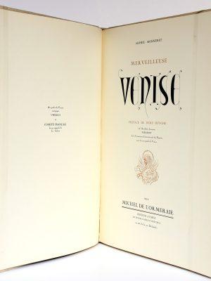 Merveilleuse Venise Sophie Monneret. Chez Michel de l'Ormeraie 1971. Page titre.