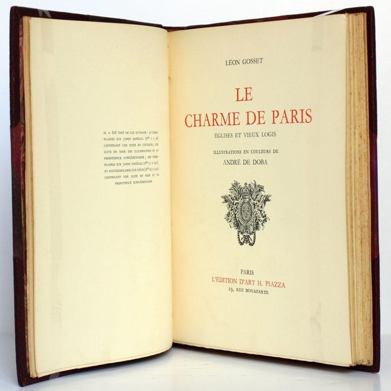 Le Charme de Paris Églises et vieux logis, Léon Gosset. L'Édition d'Art H. Piazza, 1934. Page titre.