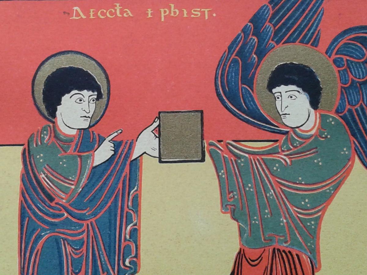 Livre carré dans Apocalypse de Saint-Sever. Église d'Éphèse.