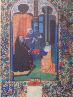 Dessin illustrant un livre du XVe siècle.