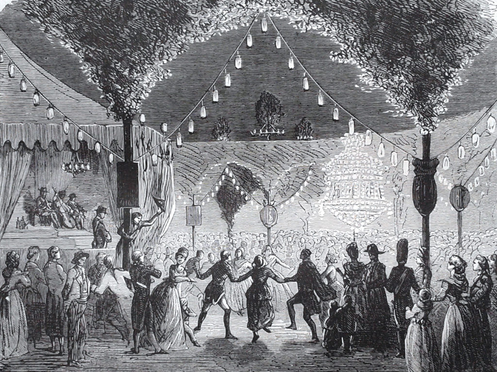 Le 14 juillet 1790, les Parisiens dansent sur l'emplacement des ruines de la Bastille. Gravure, 1882.