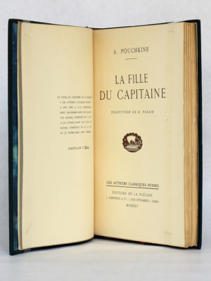 La Fille du Capitaine, Pouchkine. Éditions de la Pléiade / J. Schiffrin & Cie, 1925. Justificatif de tirage et page titre.