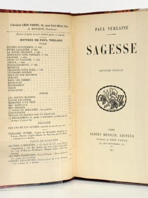 Sagesse, Paul VERLAINE. Albert Messein Éditeur, 1914. Page titre.