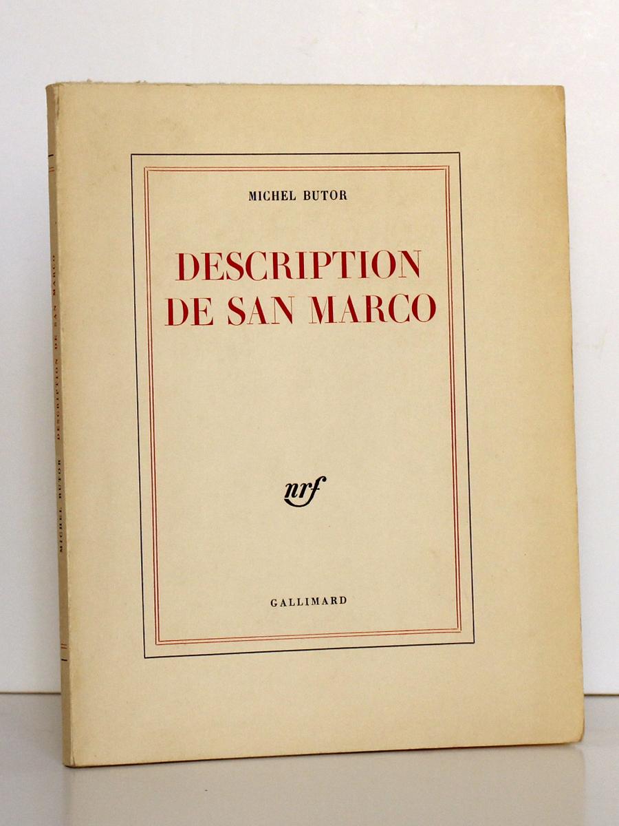 Description de San Marco, Michel BUTOR. nrf-Gallimard, 1963. Couverture.