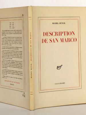 Description de San Marco, Michel BUTOR. nrf-Gallimard, 1963. Couverture : dos et plats.