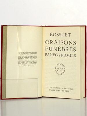 Oraisons funèbres Panégyriques, Bossuet. Bibliothèque de la Pléiade, 1936. Page titre.