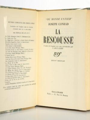 """La Rescousse, Joseph Conrad. nrf-Gallimard 1936, collection """"Du monde entier"""". Page titre."""